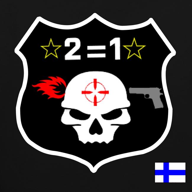 2on1 huppari, jossa logo paidan selkäpuolella