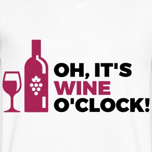 Het is Wine Time T-shirts - Mannen T-shirt met V-hals