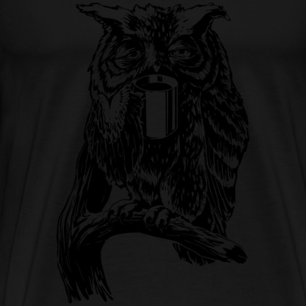 Black Coffee Owl black T-Shirts - Men's Premium T-Shirt