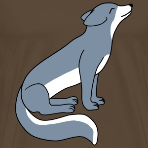 Arctic fox sits and looks up vektor.svg T-Shirts - Men's Premium T-Shirt