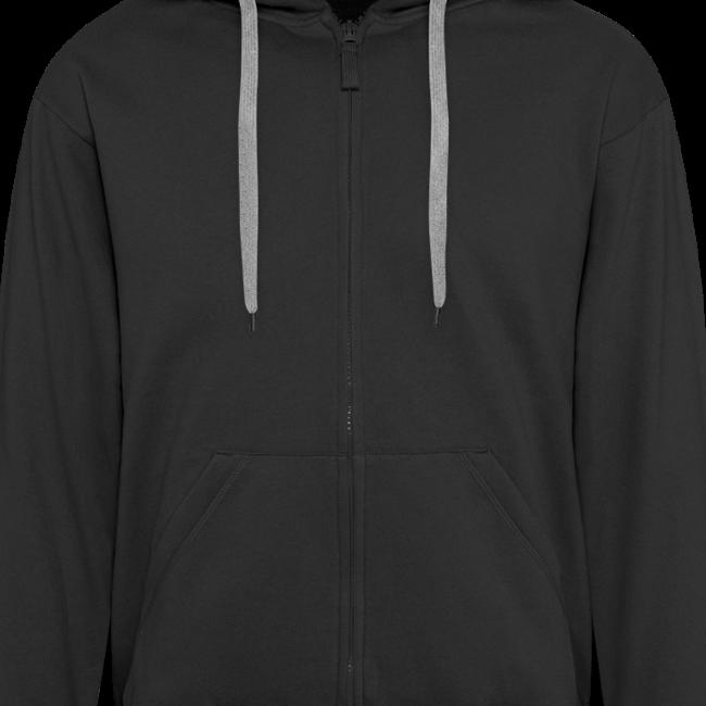 2on1 huppari, jossa logo ja slogan paidan selkäpuolella, sekä pelaajanimi vasemmassa hihassa. (Vetoketju musta)