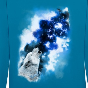 Paintery Style :Starry Wolf Night: - Kontrast-Hoodie
