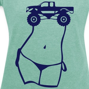 Girl sexy corp breasts monster truck wheel T-Shirts - Women's T-shirt with rolled up sleeves