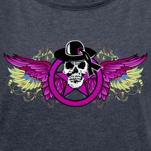 Skull wing dead multicolor T-Shirts - Women's T-shirt with rolled up sleeves