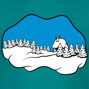 winter sneeuw huis fir T-shirts - Mannen T-shirt