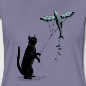 Cat with Flying Fish Kite Tee shirts - T-shirt Premium Femme
