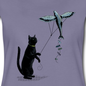 Grijs-violet Cat with flying fish kite T-shirts - Vrouwen Premium T-shirt