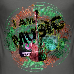I am music mit noten g-r T-Shirts - Männer Slim Fit T-Shirt