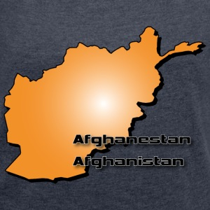 Afghanistan country map in 3D style T-Shirts - Women's T-shirt with rolled up sleeves
