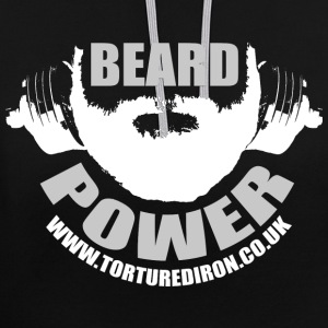 BEARD POWER WHITE/GREY - Contrast Colour Hoodie