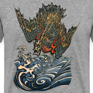 Japanese Water Dragon Grey - Männer Premium T-Shirt