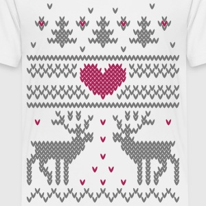 Winterstrick Vector Herz T-Shirts - Teenager Premium T-Shirt