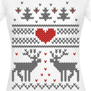 Winterstrick Design Herz T-Shirts - Frauen T-Shirt