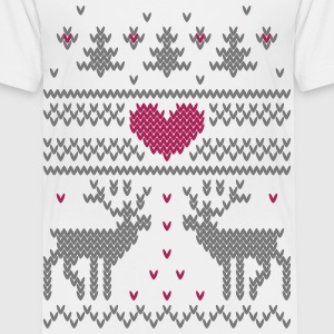 Vinter Strik Vector Heart T-shirts - Børne premium T-shirt