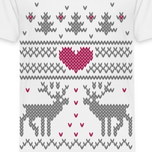 Winter Knit Vector Hjerte Skjorter - Premium T-skjorte for barn