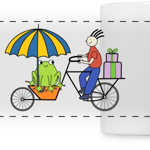 Frog on a bike mug - Panoramic Mug