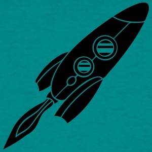 black rocket spaceship flying fire design T-Shirts - Men's T-Shirt