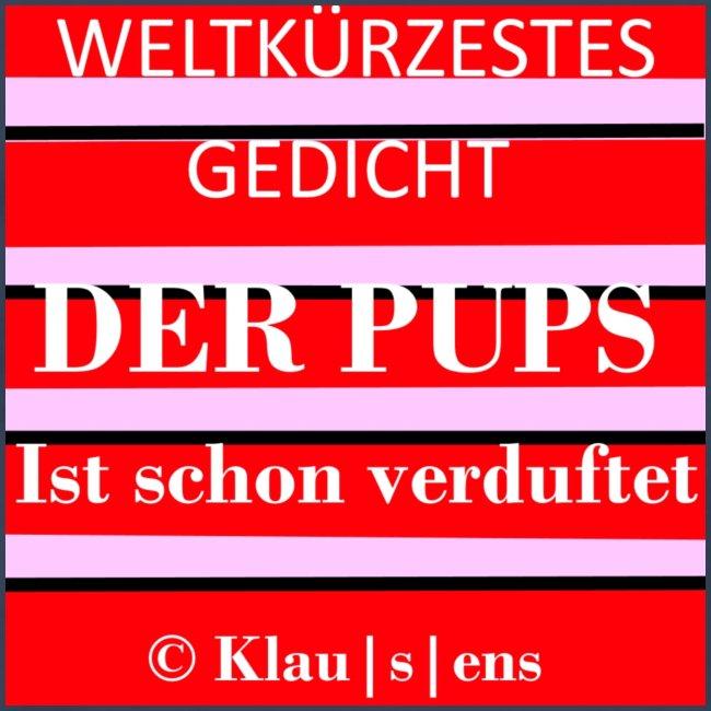 """Männer-T-SHIRT mit Aufdruck Gedicht """"DER PUPS"""" von KLAUSENS"""