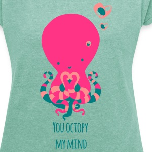 Heather mint Octopus T-Shirts - Women's T-shirt with rolled up sleeves