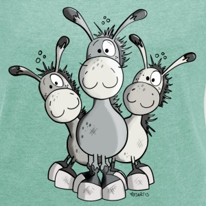 Three Cute Donkeys T-Shirts - Women's T-shirt with rolled up sleeves