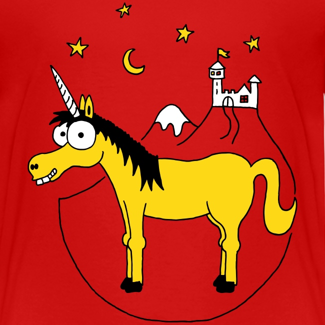 Einhorn mit Burg, Unicorn, Märchen, Pferd, Sterne T-Shirts