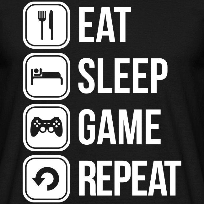 Tshirt Eat, Sleep, Game, Repeat, Crew Member Mammolos98