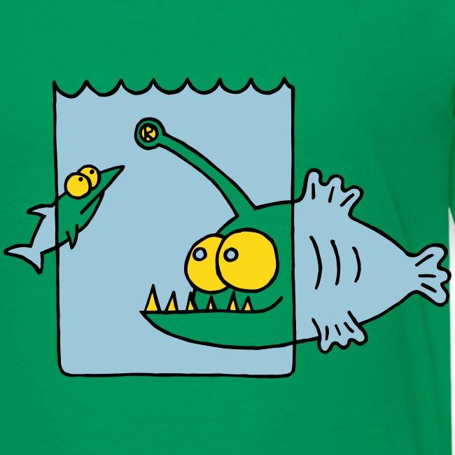 der Anglerfisch leuchtet den Weg, Lampe, angeln T-Shirts