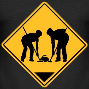 Curling Road Sign T-Shirts - Männer Slim Fit T-Shirt