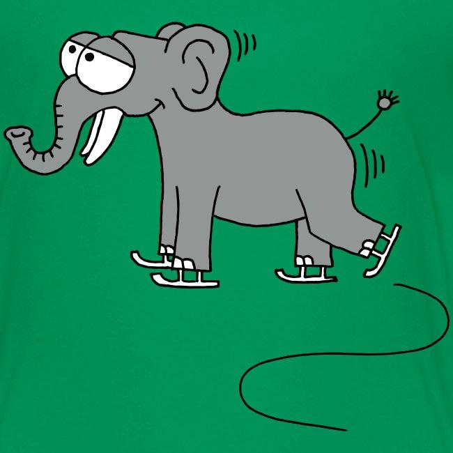 lustiger Elefant beim Schlittschuhfahren, Winter T-Shirts