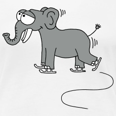 funny elephant while ice skating, winter T-Shirts