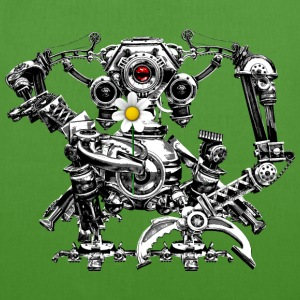 Steampunk/Cyberpunk Robot with a flower EarthPosit - Bio-Stoffbeutel
