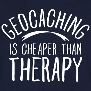 Geocaching Is CHeaper Than Therapy Therapy T-shirts - Mannen T-shirt met V-hals