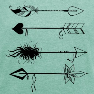 Heather mint Arrows T-Shirts - Women's T-shirt with rolled up sleeves