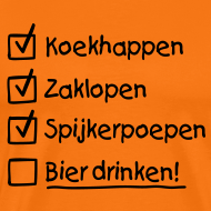 Ontwerp ~ Koningsdag To do list T-shirt