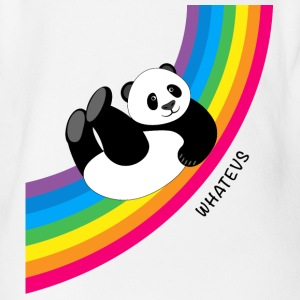 Panda sliding down rainbow...Whatevs! (onesie) - Organic Short-sleeved Baby Bodysuit