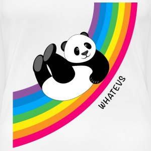 Panda sliding down rainbow...Whatevs! - Women's Premium T-Shirt