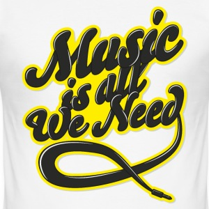 Blanc Music is all we need Tee shirts - Tee shirt près du corps Homme