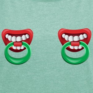Nipple Rings with teeth T-Shirts - Women's T-shirt with rolled up sleeves
