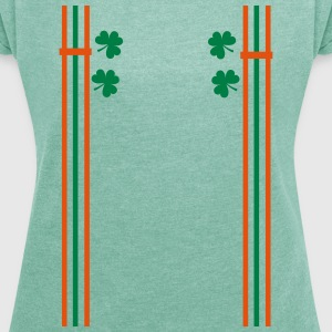 shamrocks shoulder strap st.patty's Women's T-sh - Women's T-shirt with rolled up sleeves