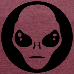 alien face circle T-Shirts - Women's T-shirt with rolled up sleeves