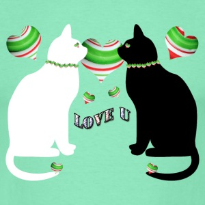 White&black cats love u - T-shirt Homme