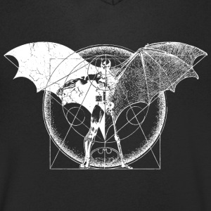 Batman Dark Logo White Men T-Shirt - T-skjorte med V-utsnitt for menn