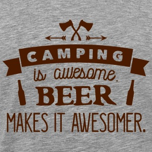 camping is awesome beer makes it awesomer T-skjorter - Premium T-skjorte for menn