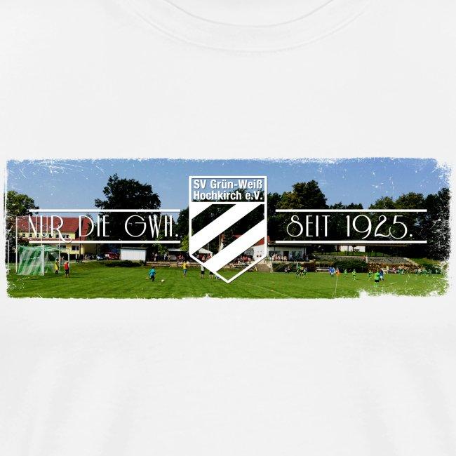 Shirt weiß mit Stadion farbig & Logo für unsere Herren - ♂