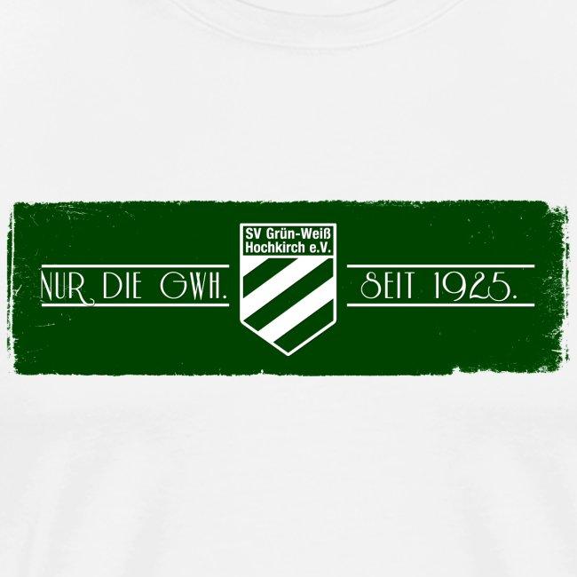 Shirt weiß mit Logo auf sattem grün für unsere Herren - ♂