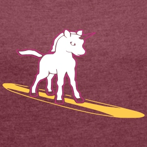 surfing unicorn T-Shirts - Women's T-shirt with rolled up sleeves