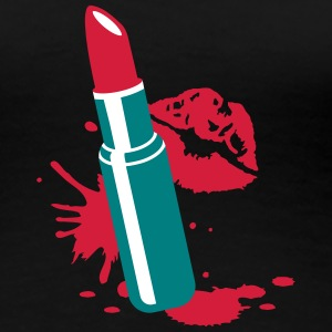 Lipstick with kissing lips T-Shirts - Women's Premium T-Shirt