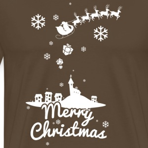 Merry Christmas with village and reindeers, white Tee shirts - T-shirt Premium Homme