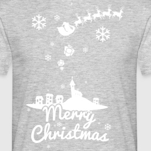 Merry Christmas with village and reindeers, white Camisetas - Camiseta hombre