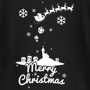 Merry Christmas with village and reindeers, white Långärmade T-shirts baby - Långärmad T-shirt baby